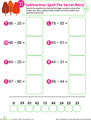 Second Grade Math Worksheets: Spell the Secret Word: Practice Subtraction 6