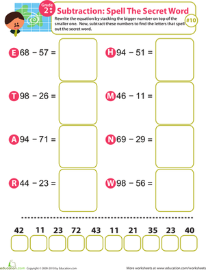 Second Grade Math Worksheets: Spell the Secret Word: Practice Subtraction 10