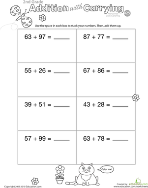 Second Grade Math Worksheets: Color Me! Addition with Carrying 25