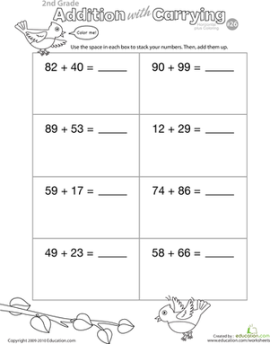Second Grade Math Worksheets: Color Me! Addition with Carrying 26