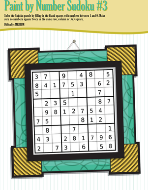 Fourth Grade Offline games Worksheets: Paint by Number Sudoku 3