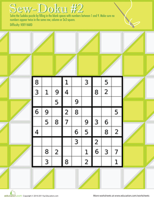 "Fourth Grade Offline games Worksheets: Play ""Sew-Doku"" 2!"
