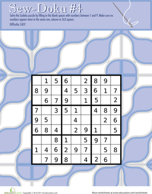 "Fourth Grade Offline games Worksheets: Play ""Sew-Doku"" 4!"