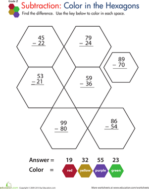 Color by Number: Practice Two-Digit Subtraction 4