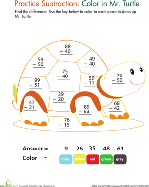 Second Grade Math Worksheets: Color by Number: Practice Two-Digit Subtraction 9