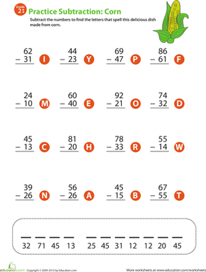 Second Grade Math Worksheets: 2-Digit Subtraction
