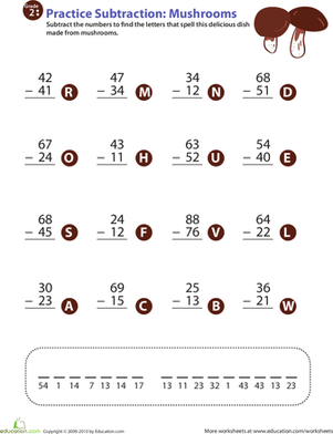 Second Grade Math Worksheets: Veggie Math Mash: Two-Digit Subtraction 5