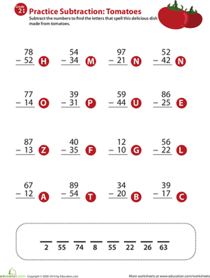 Second Grade Math Worksheets: Veggie Math Mash: Two-Digit Subtraction 8