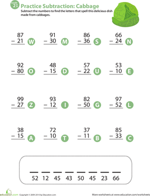 Second Grade Math Worksheets: Veggie Math Mash: Two-Digit Subtraction 10