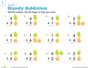 First Grade Math Worksheets: Addition Practice: A Helping Hand