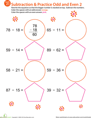 Second Grade Math Worksheets: Math Mania: Practice Subtraction & Odd/Even 2