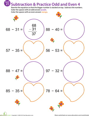 Second Grade Math Worksheets: Math Mania: Practice Subtraction & Odd/Even 4