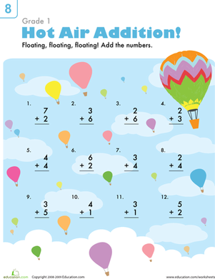 First Grade Math Worksheets: Beginning Addition: Hot Air Balloons