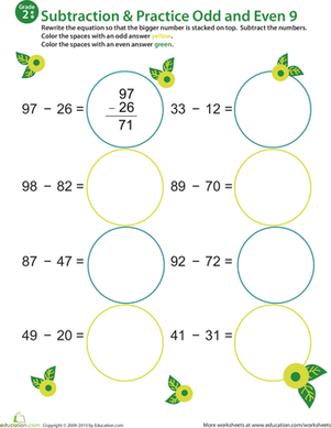 Second Grade Math Worksheets: Math Mania: Practice Subtraction & Odd/Even 9
