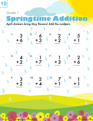 First Grade Seasons Worksheets: Springtime Addition