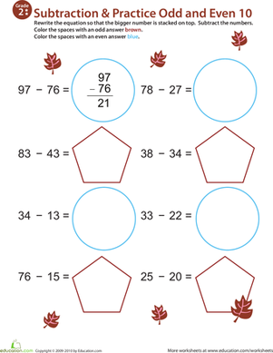 Second Grade Math Worksheets: Math Mania: Practice Subtraction & Odd/Even 10