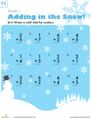First Grade Holidays & Seasons Worksheets: Addition in the Snow