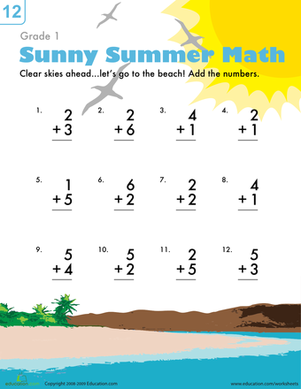 First Grade Math Worksheets: Addition Facts Worksheet: Beach Fun