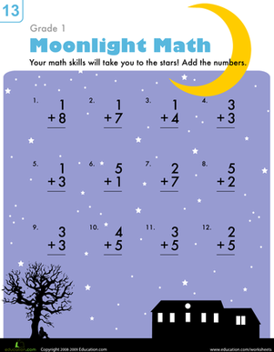 First Grade Math Worksheets: Moonlight Math