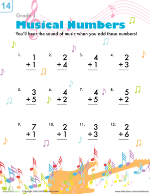 First Grade Math Worksheets: Musical Addition