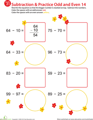 Second Grade Math Worksheets: Math Mania: Practice Subtraction & Odd/Even 14