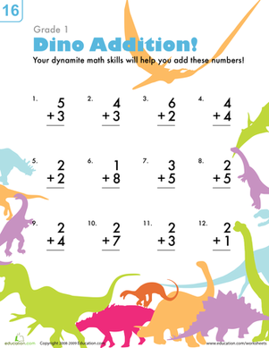 First Grade Math Worksheets: Dinosaur Addition