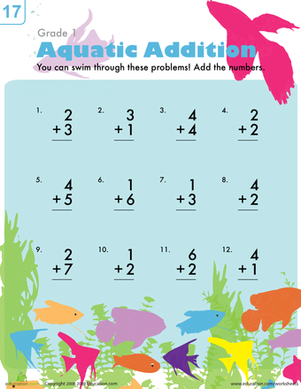 First Grade Math Worksheets: Aquatic Addition