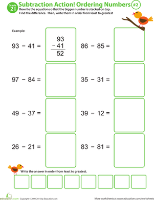 Second Grade Math Worksheets: Subtraction Action! Ordering Numbers #2
