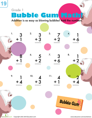 First Grade Math Worksheets: Bubblegum Addition