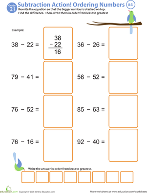 Second Grade Math Worksheets: Subtraction Action! Ordering Numbers #4