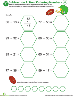 Second Grade Math Worksheets: Subtraction Action! Ordering Numbers #7