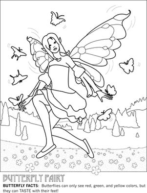 First Grade Coloring Worksheets: Butterfly Fairy Coloring Page!