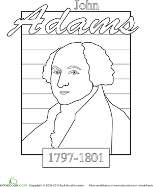 Kindergarten Holidays & Seasons Worksheets: Color a U.S. President: John Adams