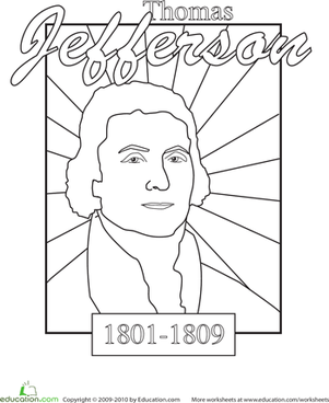 Kindergarten Holidays & Seasons Worksheets: Color a U.S. President: Thomas Jefferson