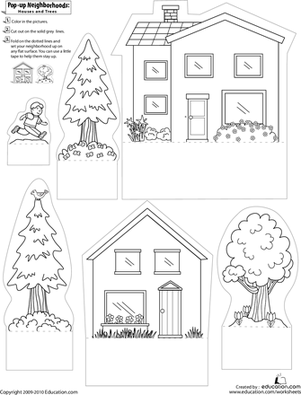 pop up neighborhoods houses and trees worksheet. Black Bedroom Furniture Sets. Home Design Ideas