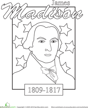 Kindergarten Holidays & Seasons Worksheets: Color a U.S. President: James Madison