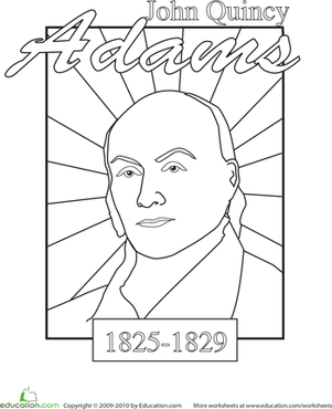 Kindergarten Holidays & Seasons Worksheets: Color a U.S. President: John Quincy Adams