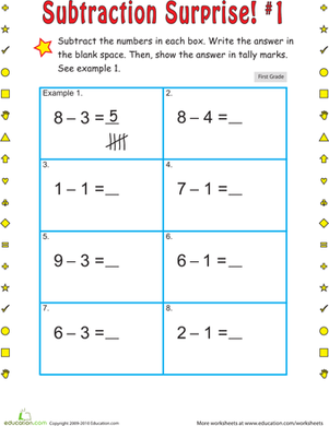 First Grade Math Worksheets: Subtraction Surprise #1
