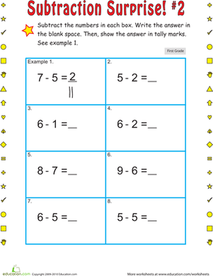 First Grade Math Worksheets: Subtraction Surprise #2