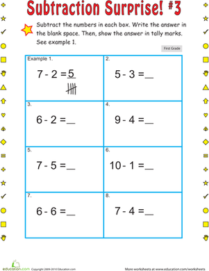 First Grade Math Worksheets: Subtraction Surprise #3