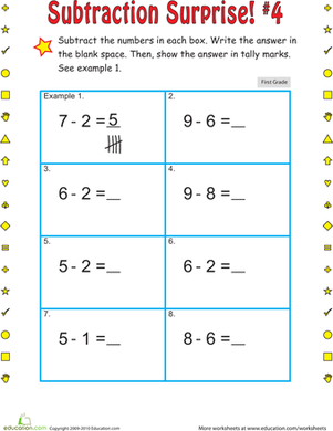 First Grade Math Worksheets: Subtraction Surprise #4