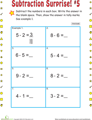 First Grade Math Worksheets: Subtraction Surprise #5