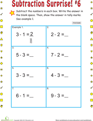 First Grade Math Worksheets: Subtraction Surprise #6