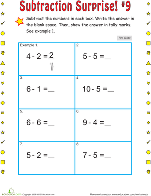 First Grade Math Worksheets: Subtraction Surprise #9
