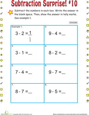 First Grade Math Worksheets: Subtraction Surprise #10