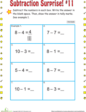 First Grade Math Worksheets: Subtraction Surprise #11