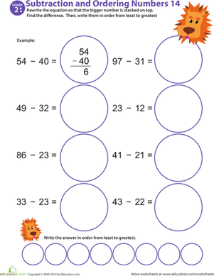 Second Grade Math Worksheets: Subtraction Action! Ordering Numbers #14