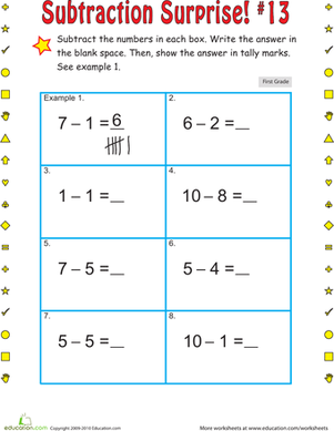 First Grade Math Worksheets: Subtraction Surprise #13