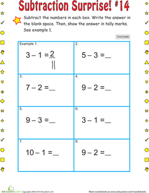 First Grade Math Worksheets: Subtraction Surprise #14
