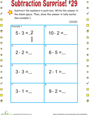 First Grade Math Worksheets: Subtraction Surprise #29